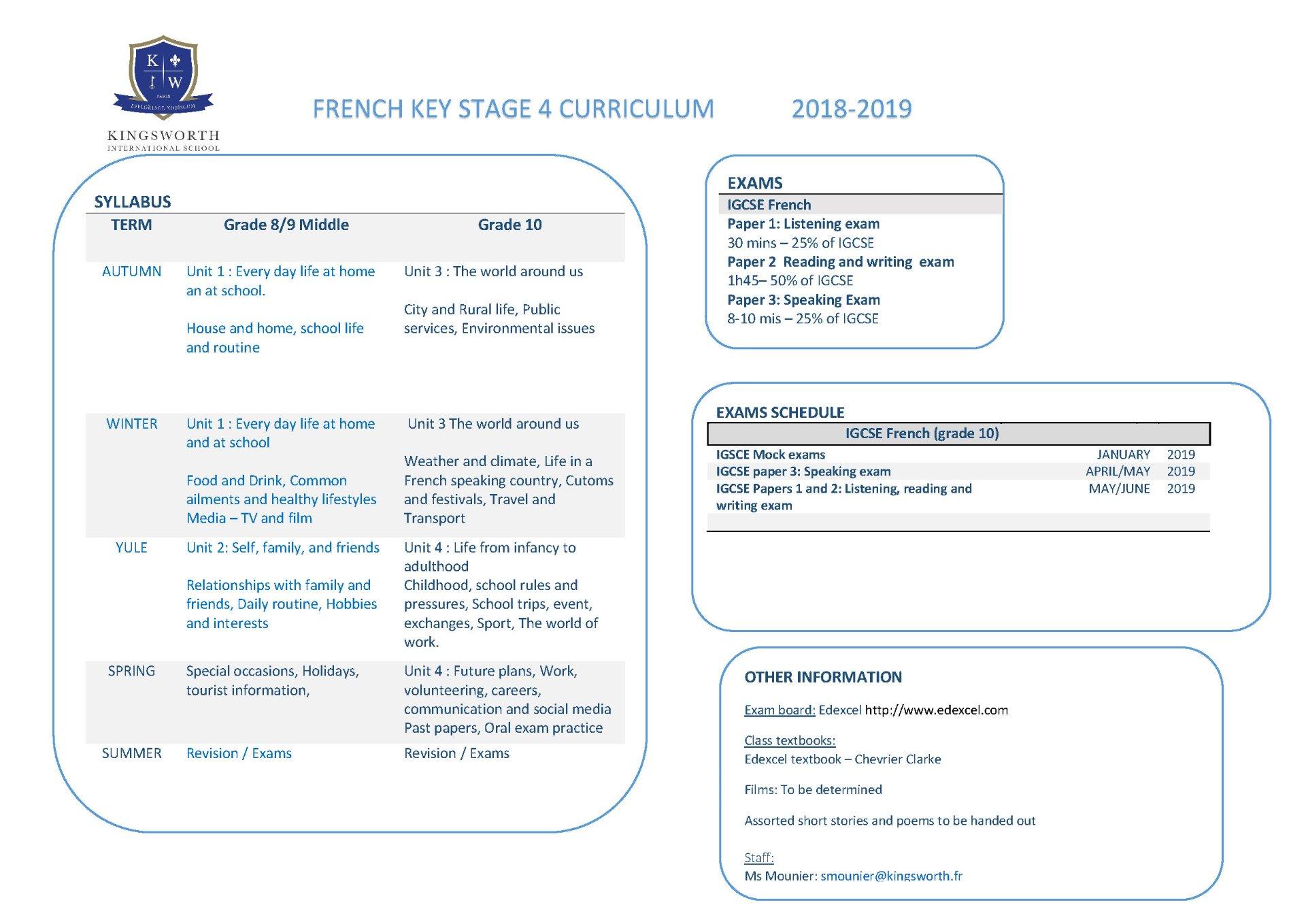 KS4 FRENCH Grade 8/9 Middle and Grade 10 | Kingsworth International